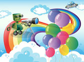 Robots in the sky with a rainbow and balloons — Stock Vector
