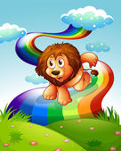 A lion at the hilltop with a rainbow — Stock Vector