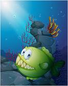 A big piranha under the sea near the rocks — Stock Vector