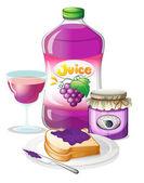 Sandwich, mermelada y jugo de uva — Vector de stock