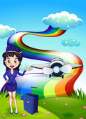 A female pilot at the hilltop with a plane and a rainbow — Stock Vector