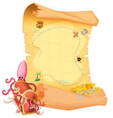 A treasure map and an octopus inside the treasure box — Stock Vector