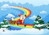 Santa and his sleigh walking at the rainbow — Stock Vector