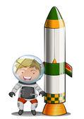 An astronaut beside the rocket — Stock Vector