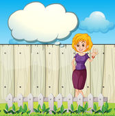 A mother standing near the wooden fence with an empty callout — Stock Vector