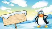 A penguin beside the empty wooden signboard — Stock Vector