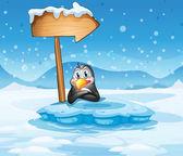 An iceberg with a penguin and an arrow — Stock Vector
