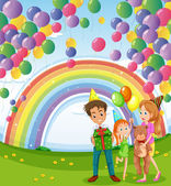 A family below the floating balloons with a rainbow — Stock Vector