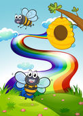 A hilltop with bees and a beehive near the rainbow — Stock Vector