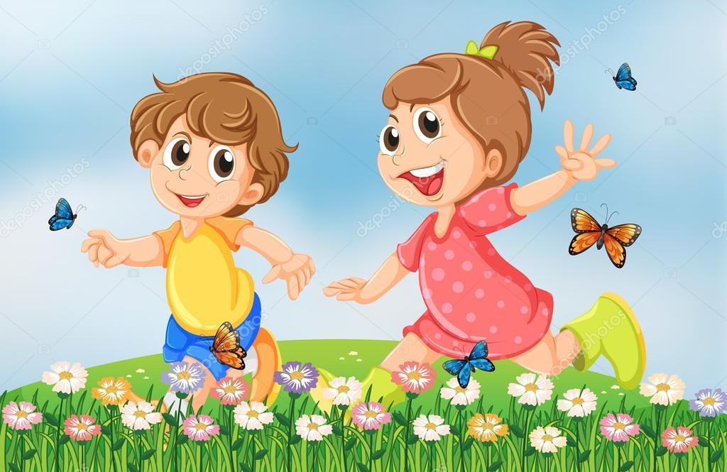Ni os jugando alegremente en el jard n en la colina for Aprendiendo y jugando jardin infantil