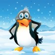 A big penguin in a snowy area — Stockvector