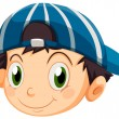 A head of a young boy with a cap — Stock Vector