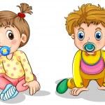 A little boy and a little girl — Stock Vector
