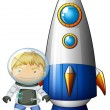 An astronaut beside the airship — Stock Vector