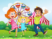 A happy family at the carnival in the hilltop — Stock Vector
