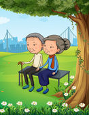 Two old couple at the park — Stock Vector