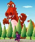 A scary giant crocodile and a superhero — Vector de stock
