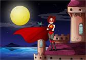 A superhero standing above the castle — Stock Vector