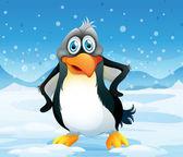 A big penguin in a snowy area — Stock Vector