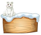 A polar bear above an empty wooden board — Stock Vector
