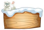 A polar bear above the empty wooden board — Stock Vector