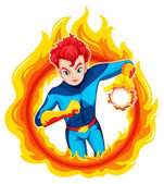 A flaming superhero — Stock Vector