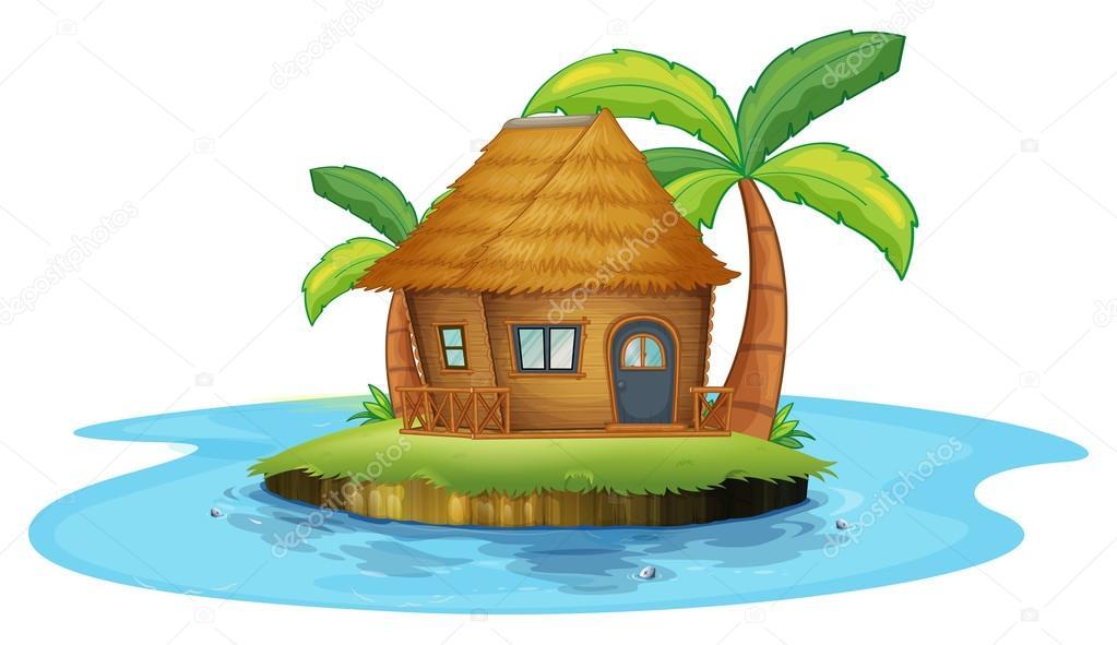 Nipa Hut Cartoon Illustration of an Island With a Small Nipa Hut on a White Background