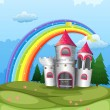 A castle at the hilltop with a rainbow — Stock Vector