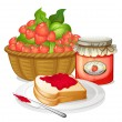Strawberries, strawberry jam and a sandwich — Stock Vector