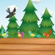 An empty wooden signboard with birds near the pine trees — Stock Vector #38852863