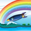 A rainbow with sparkling stars and an aircraft — Vector de stock