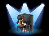 A talented young girl playing with the piano — Stock Vector
