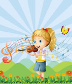 A girl at the hilltop playing with her violin — Stock Vector