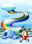 A happy Santa walking near the igloo under the rainbow — Stock Vector
