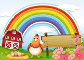 A hen at the farm with a rainbow and an empty signboard — Stock Vector