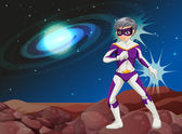 A male superhero at the outerspace — Vector de stock