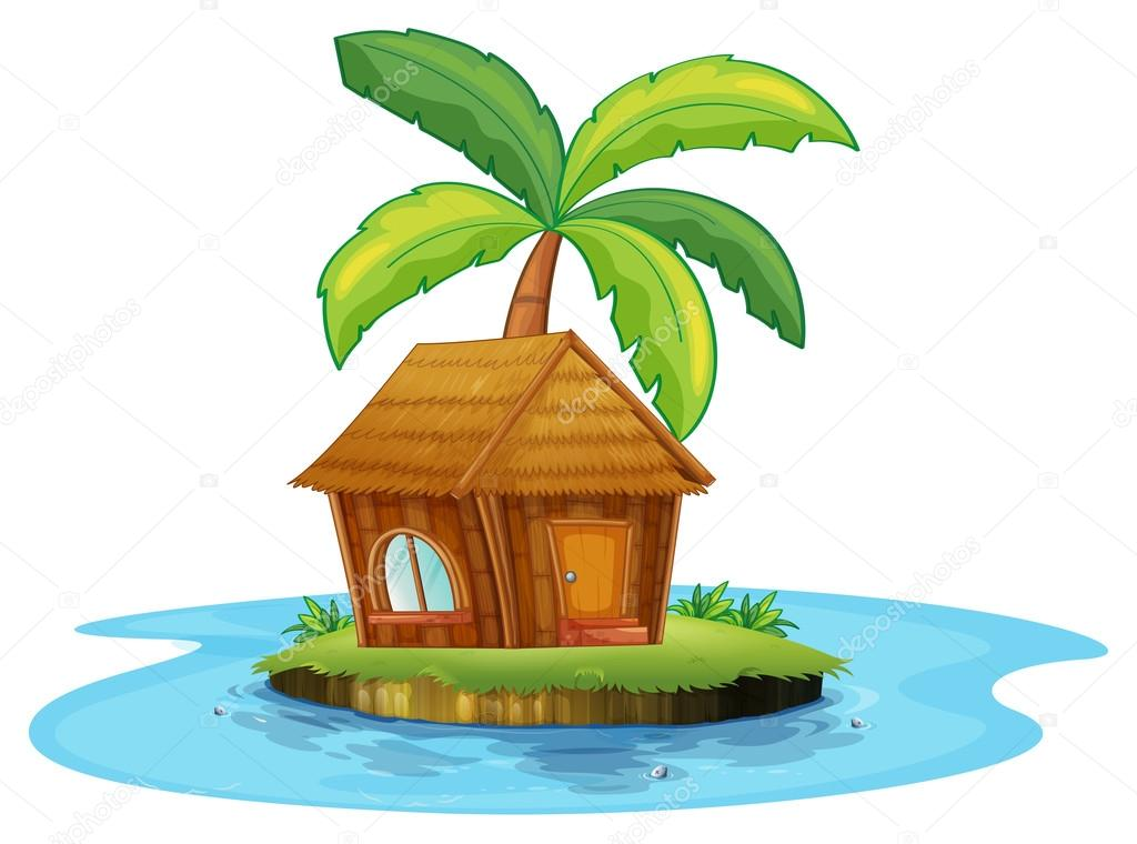 Nipa Hut Cartoon Illustration of an Island With a Nipa Hut And a Palm Tree on a White