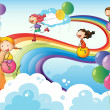A group of kids playing at the sky with a rainbow — Stock Vector
