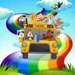 A zoo bus travelling through the rainbow road — Stock Vector #38862135