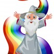 A wizard near the rainbow — Stock Vector