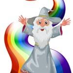 A wizard near the rainbow — Stock Vector #38862923