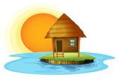 An island with a nipa hut — Stock Vector