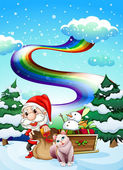 Santa and his cat in a snowy area with a rainbow — Stock Vector