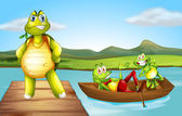 A turtle at the bridge and the two playful frogs at the boat — Stock Vector