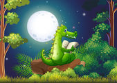 A crocodile reading in the middle of the forest — Stock Vector
