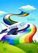 A jetplane near the hilltop with a rainbow — Stock Vector