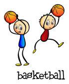 Two boys playing basketball — Stock Vector