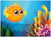 A puffer fish near the coral reefs — Stock Vector