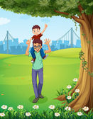 A father carrying his son near the tree across the buildings — Stock Vector