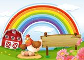A farm with a rainbow and an empty signboard — Stock Vector